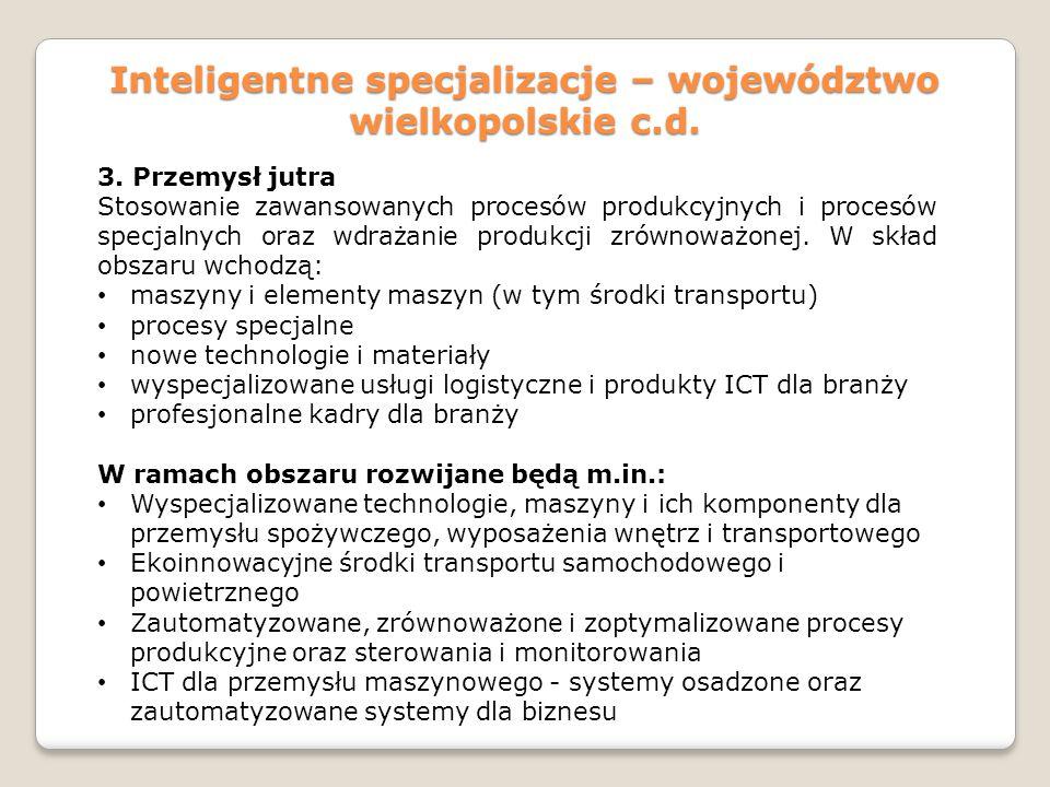 Inteligentne specjalizacje – województwo wielkopolskie c.d. 3. Przemysł jutra Stosowanie zawansowanych procesów produkcyjnych i procesów specjalnych o