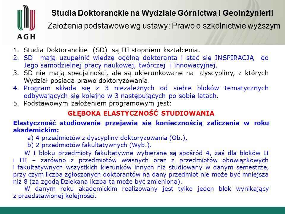 Studia Doktoranckie na Wydziale Górnictwa i Geoinżynierii Założenia podstawowe wg ustawy: Prawo o szkolnictwie wyższym 1.Studia Doktoranckie (SD) są III stopniem kształcenia.