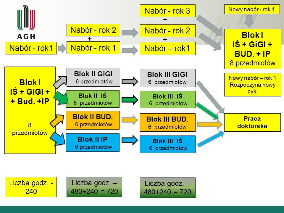 Blok I IŚ + GiGI + + Bud. +IP 8 przedmiotów Liczba godz.