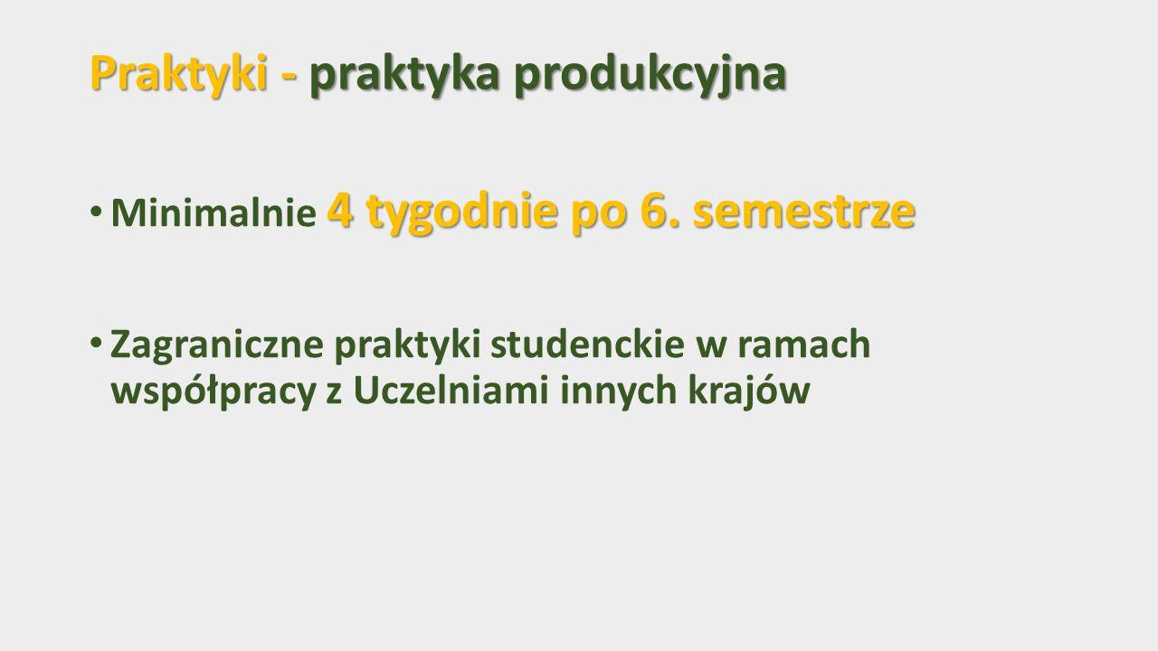Praktyki - praktyka produkcyjna 4 tygodnie po 6.semestrze Minimalnie 4 tygodnie po 6.
