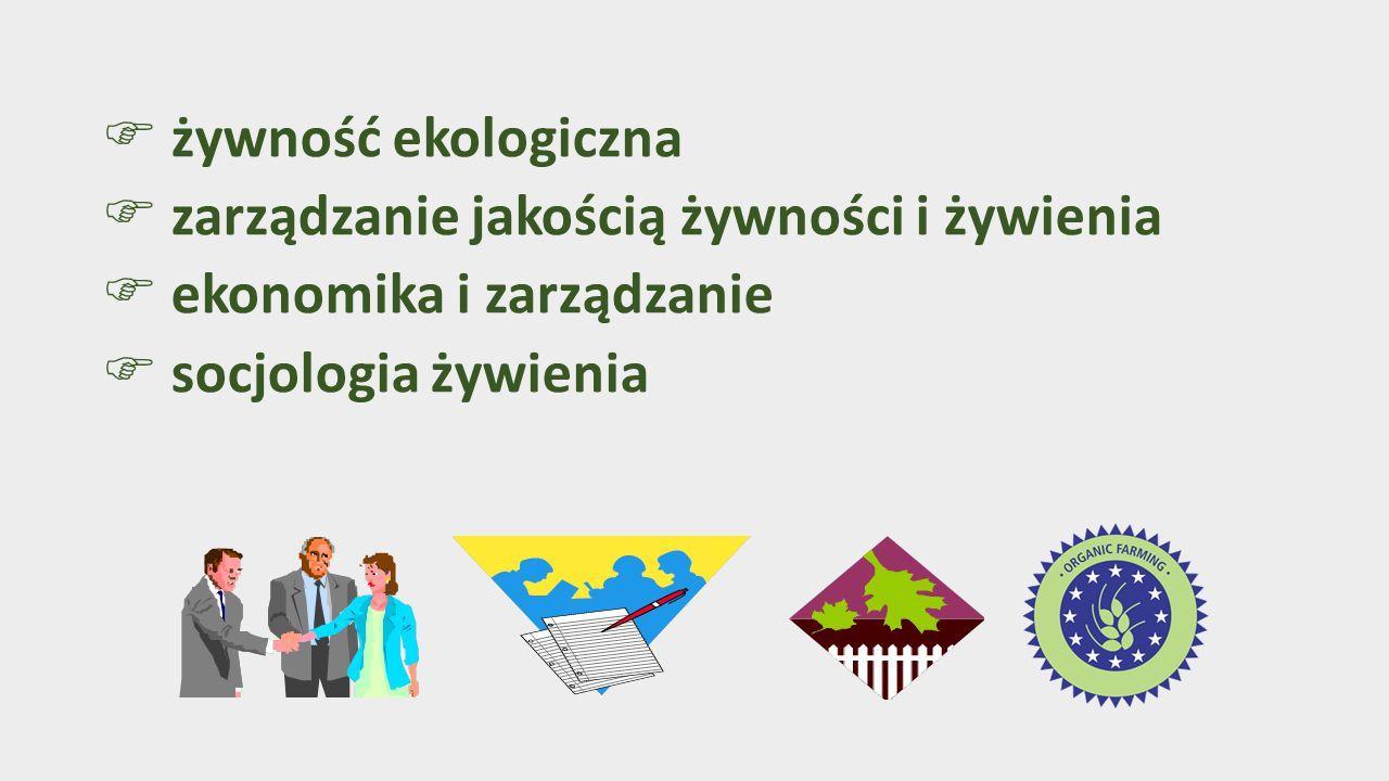  żywność ekologiczna  zarządzanie jakością żywności i żywienia  ekonomika i zarządzanie  socjologia żywienia