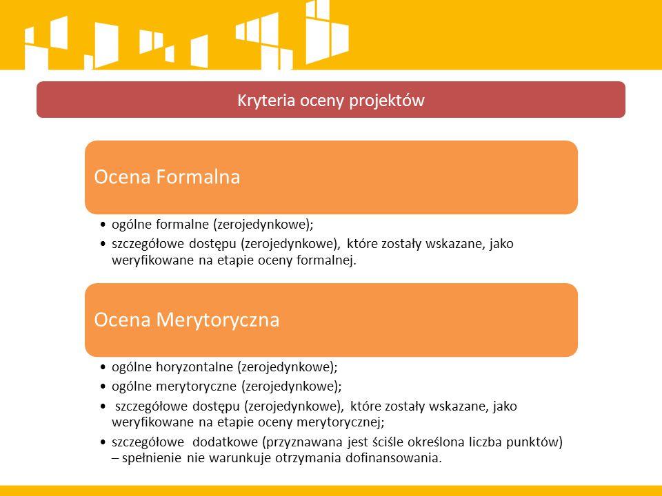 Kryteria oceny projektów Ocena Formalna ogólne formalne (zerojedynkowe); szczegółowe dostępu (zerojedynkowe), które zostały wskazane, jako weryfikowane na etapie oceny formalnej.