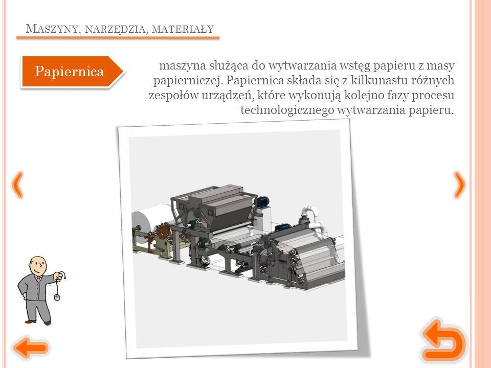 M ASZYNY, NARZĘDZIA, MATERIAŁY maszyna służąca do wytwarzania wstęg papieru z masy papierniczej. Papiernica składa się z kilkunastu różnych zespołów u
