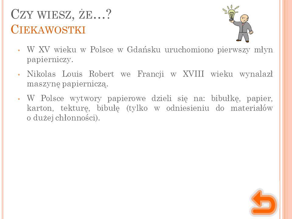 C ZY WIESZ, ŻE …? C IEKAWOSTKI W XV wieku w Polsce w Gdańsku uruchomiono pierwszy młyn papierniczy. Nikolas Louis Robert we Francji w XVIII wieku wyna