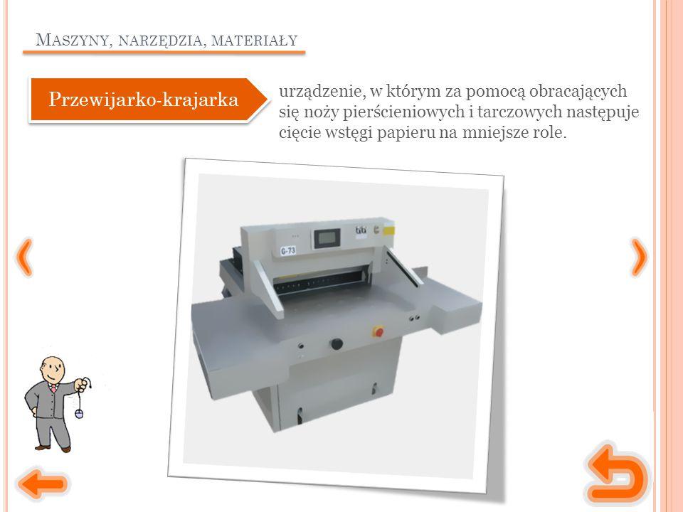 M ASZYNY, NARZĘDZIA, MATERIAŁY urządzenie, w którym za pomocą obracających się noży pierścieniowych i tarczowych następuje cięcie wstęgi papieru na mniejsze role.