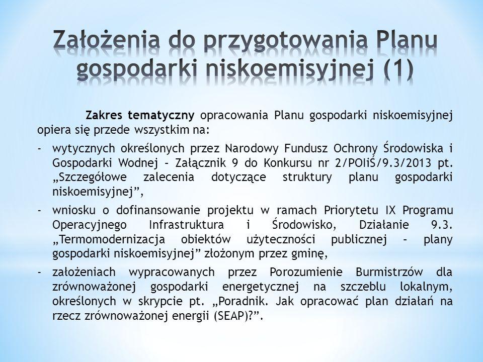Zakres tematyczny opracowania Planu gospodarki niskoemisyjnej opiera się przede wszystkim na: -wytycznych określonych przez Narodowy Fundusz Ochrony Ś