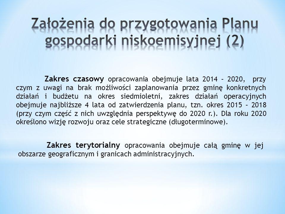 Zakres czasowy opracowania obejmuje lata 2014 – 2020, przy czym z uwagi na brak możliwości zaplanowania przez gminę konkretnych działań i budżetu na o