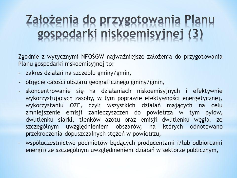 Zgodnie z wytycznymi NFOŚGW najważniejsze założenia do przygotowania Planu gospodarki niskoemisyjnej to: -zakres działań na szczeblu gminy/gmin, -obję