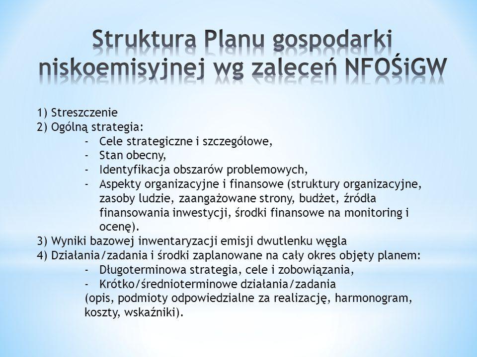 1) Streszczenie 2) Ogólną strategia: -Cele strategiczne i szczegółowe, -Stan obecny, -Identyfikacja obszarów problemowych, -Aspekty organizacyjne i fi