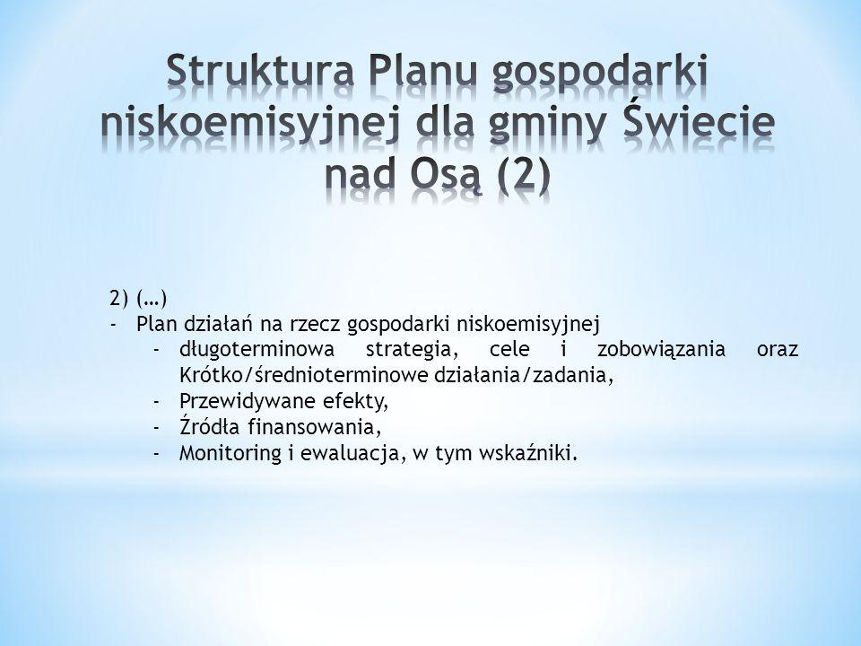 2) (…) -Plan działań na rzecz gospodarki niskoemisyjnej -długoterminowa strategia, cele i zobowiązania oraz Krótko/średnioterminowe działania/zadania,