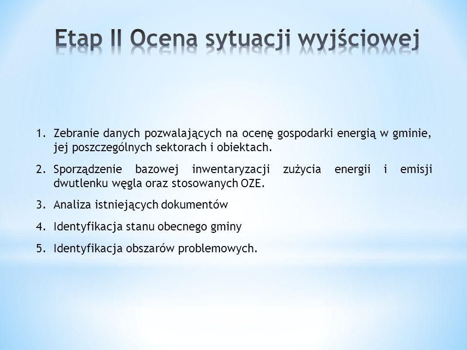 1.Zebranie danych pozwalających na ocenę gospodarki energią w gminie, jej poszczególnych sektorach i obiektach. 2.Sporządzenie bazowej inwentaryzacji