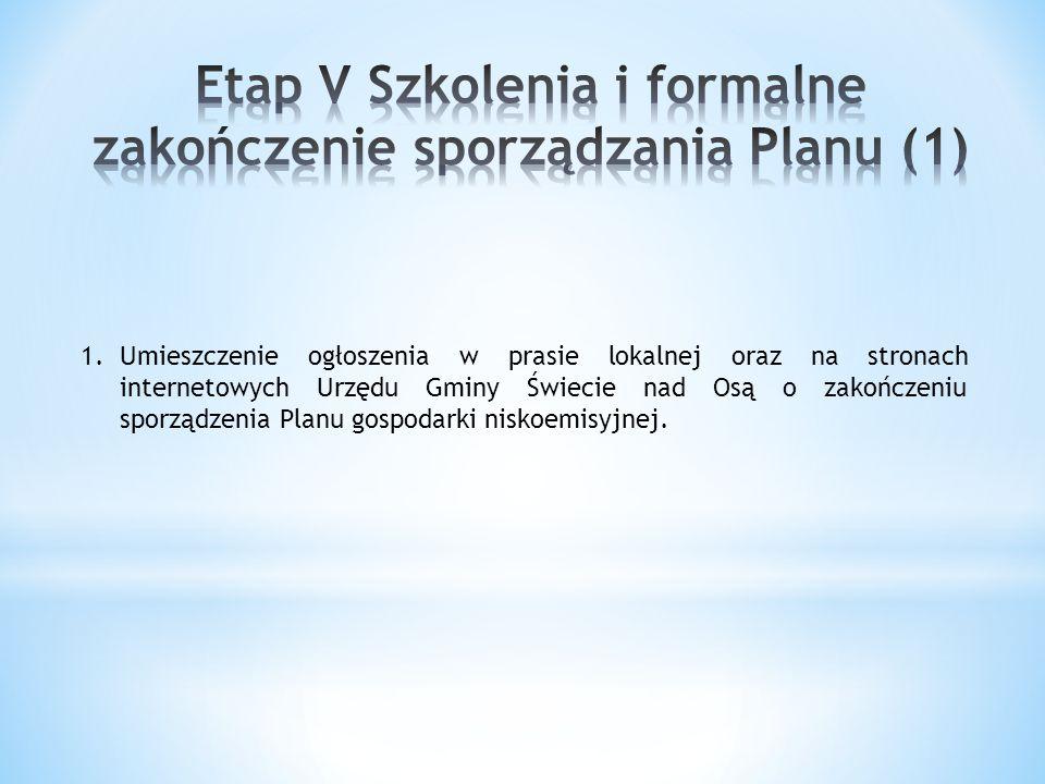 1.Umieszczenie ogłoszenia w prasie lokalnej oraz na stronach internetowych Urzędu Gminy Świecie nad Osą o zakończeniu sporządzenia Planu gospodarki ni