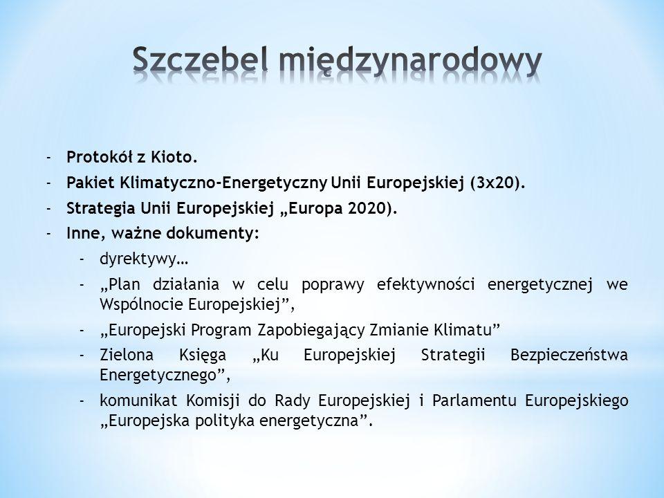 """-Protokół z Kioto. -Pakiet Klimatyczno-Energetyczny Unii Europejskiej (3x20). -Strategia Unii Europejskiej """"Europa 2020). -Inne, ważne dokumenty: -dyr"""