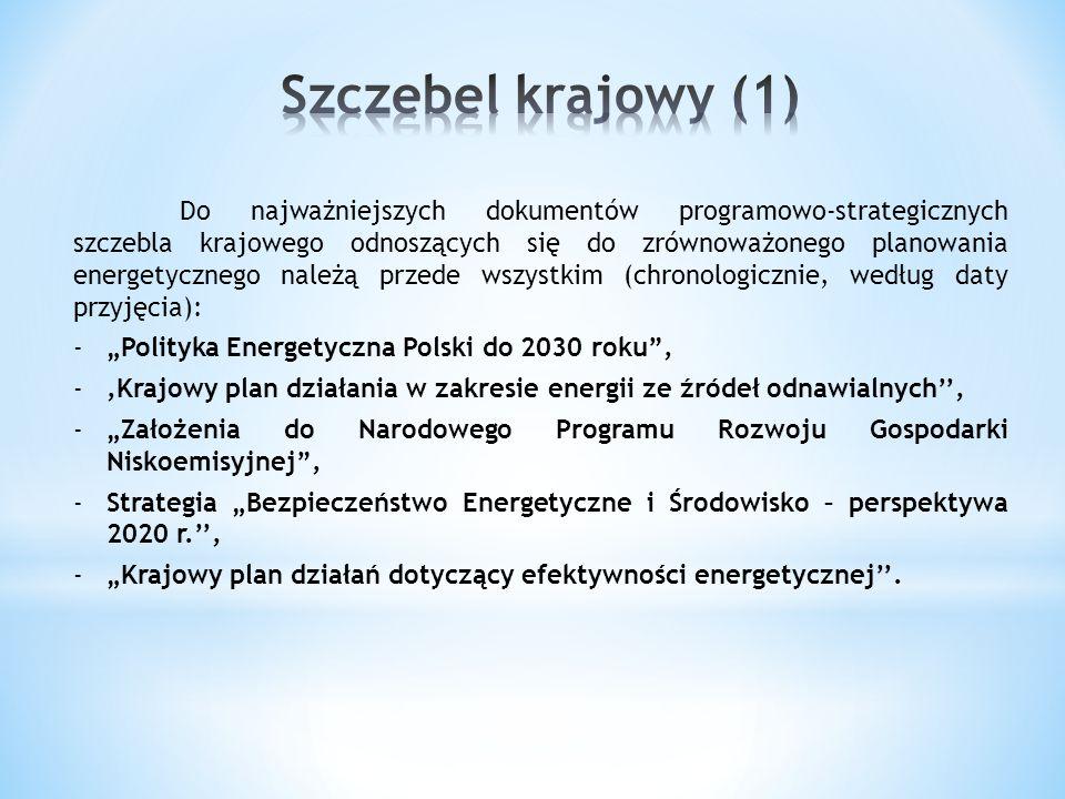 Do najważniejszych dokumentów programowo-strategicznych szczebla krajowego odnoszących się do zrównoważonego planowania energetycznego należą przede w