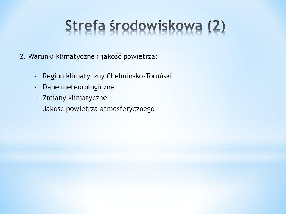 2. Warunki klimatyczne i jakość powietrza: -Region klimatyczny Chełmińsko-Toruński -Dane meteorologiczne -Zmiany klimatyczne -Jakość powietrza atmosfe
