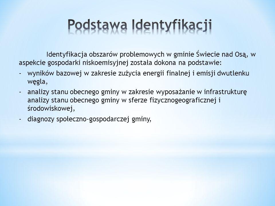 Identyfikacja obszarów problemowych w gminie Świecie nad Osą, w aspekcie gospodarki niskoemisyjnej została dokona na podstawie: -wyników bazowej w zak