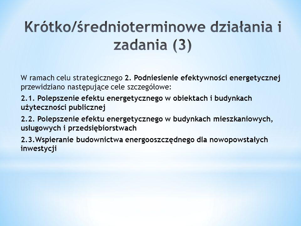 W ramach celu strategicznego 2. Podniesienie efektywności energetycznej przewidziano następujące cele szczegółowe: 2.1. Polepszenie efektu energetyczn