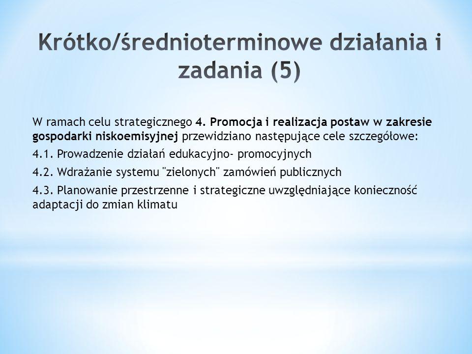 W ramach celu strategicznego 4. Promocja i realizacja postaw w zakresie gospodarki niskoemisyjnej przewidziano następujące cele szczegółowe: 4.1. Prow