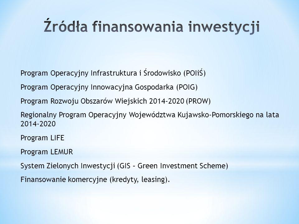 Program Operacyjny Infrastruktura i Środowisko (POIiŚ) Program Operacyjny Innowacyjna Gospodarka (POIG) Program Rozwoju Obszarów Wiejskich 2014-2020 (