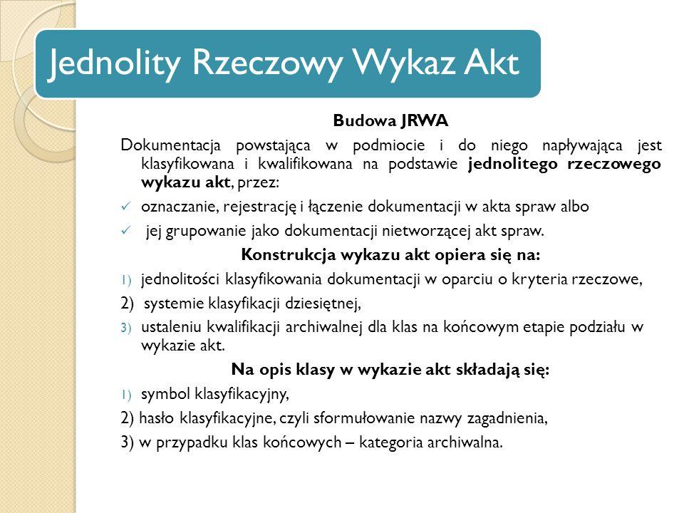 Jednolity Rzeczowy Wykaz Akt Budowa JRWA Dokumentacja powstająca w podmiocie i do niego napływająca jest klasyfikowana i kwalifikowana na podstawie je