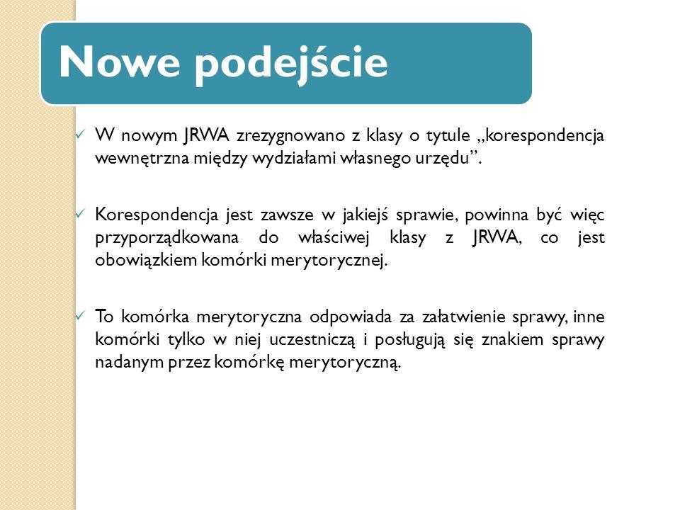 """Nowe podejście W nowym JRWA zrezygnowano z klasy o tytule """"korespondencja wewnętrzna między wydziałami własnego urzędu"""". Korespondencja jest zawsze w"""