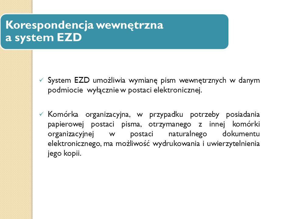 Korespondencja wewnętrzna a system EZD System EZD umożliwia wymianę pism wewnętrznych w danym podmiocie wyłącznie w postaci elektronicznej. Komórka or