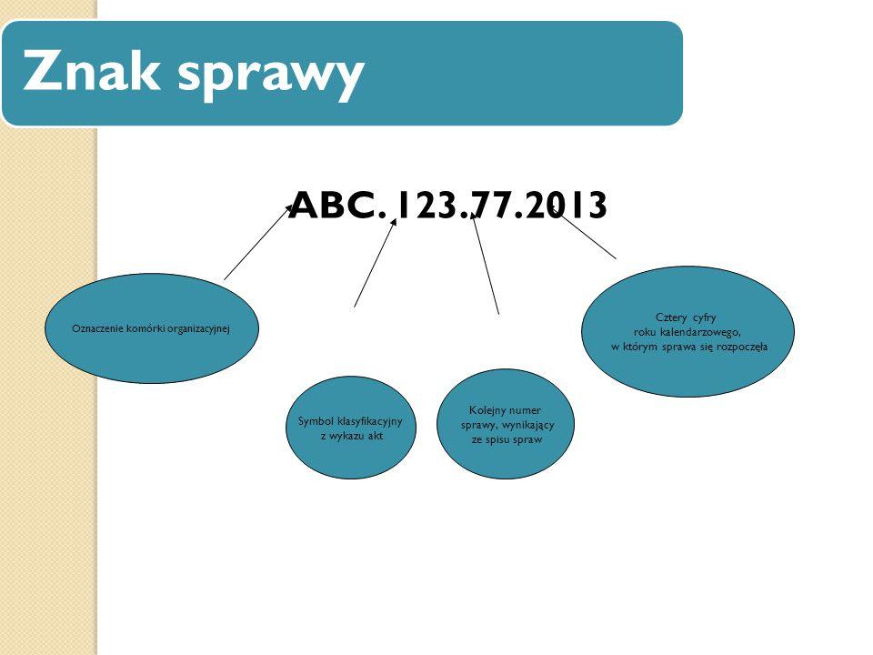Znak sprawy ABC. 123.77.2013 Oznaczenie komórki organizacyjnej Symbol klasyfikacyjny z wykazu akt Kolejny numer sprawy, wynikający ze spisu spraw Czte
