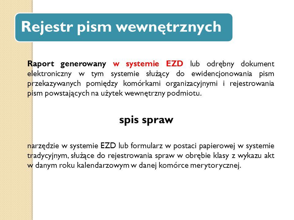 Rejestr pism wewnętrznych Raport generowany w systemie EZD lub odrębny dokument elektroniczny w tym systemie służący do ewidencjonowania pism przekazy