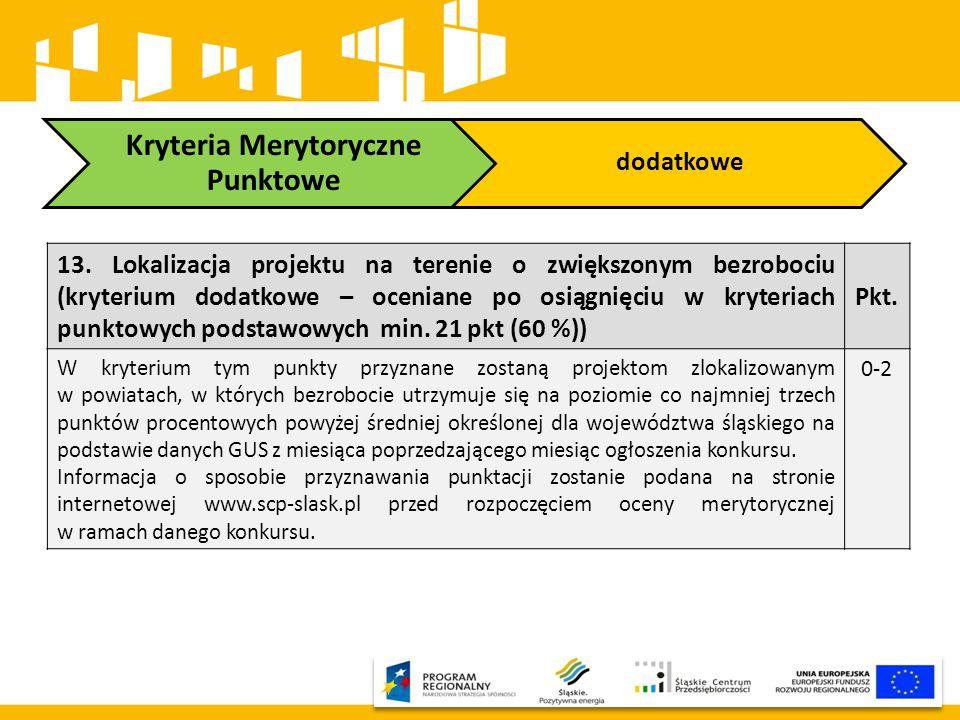Kryteria Merytoryczne Punktowe dodatkowe 13. Lokalizacja projektu na terenie o zwiększonym bezrobociu (kryterium dodatkowe – oceniane po osiągnięciu w