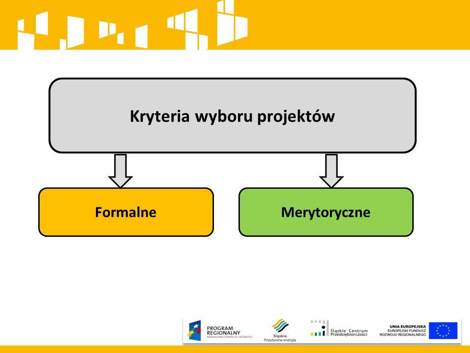 Kryteria wyboru projektów FormalneMerytoryczne