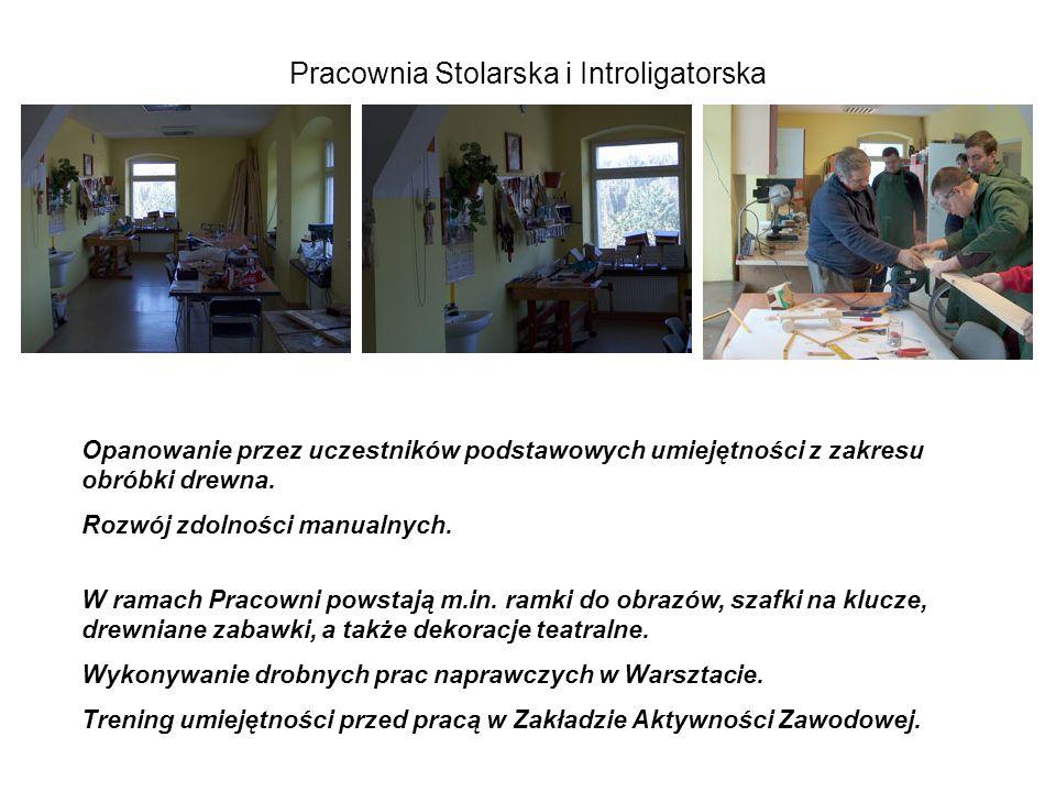 Pracownia Stolarska i Introligatorska Opanowanie przez uczestników podstawowych umiejętności z zakresu obróbki drewna.