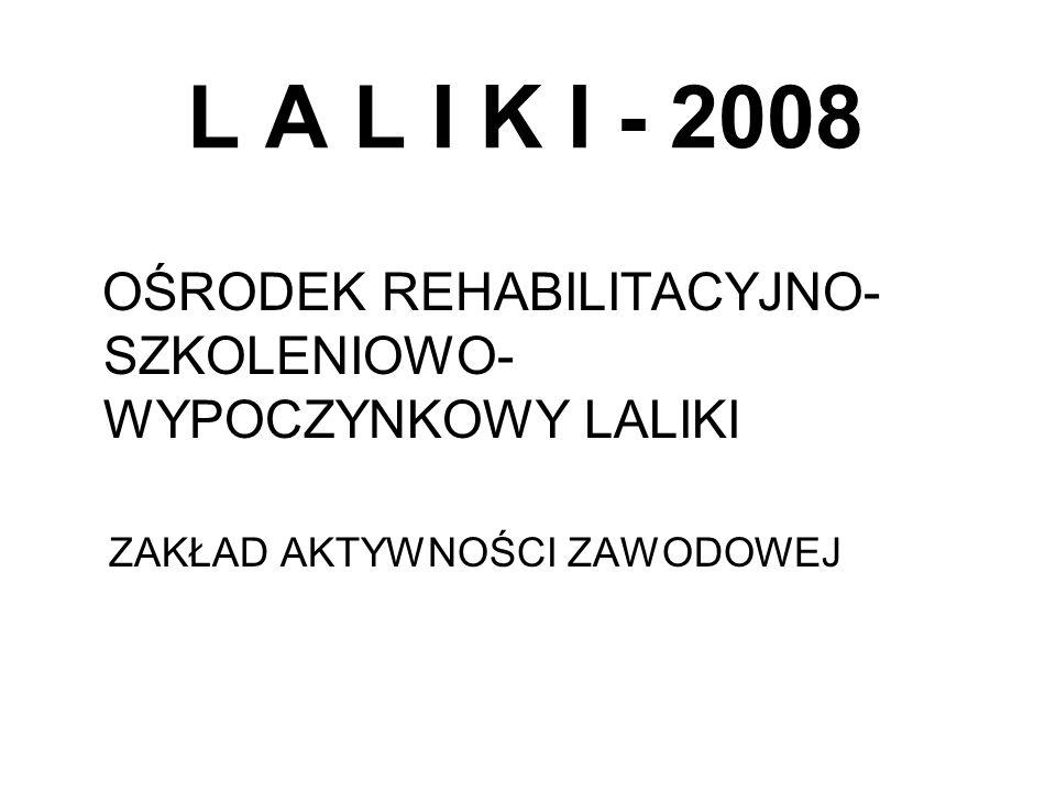 L A L I K I - 2008 OŚRODEK REHABILITACYJNO- SZKOLENIOWO- WYPOCZYNKOWY LALIKI ZAKŁAD AKTYWNOŚCI ZAWODOWEJ