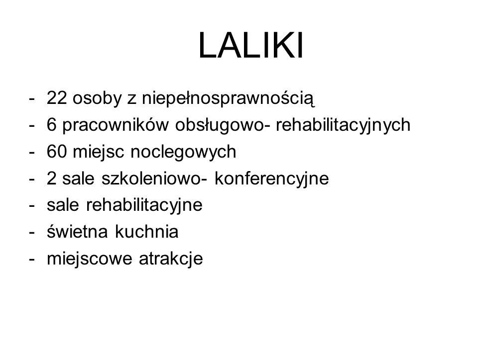 LALIKI -22 osoby z niepełnosprawnością -6 pracowników obsługowo- rehabilitacyjnych -60 miejsc noclegowych -2 sale szkoleniowo- konferencyjne -sale rehabilitacyjne -świetna kuchnia -miejscowe atrakcje
