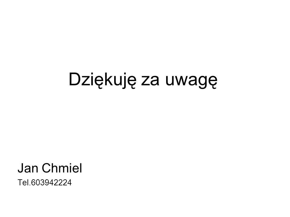 Dziękuję za uwagę Jan Chmiel Tel.603942224