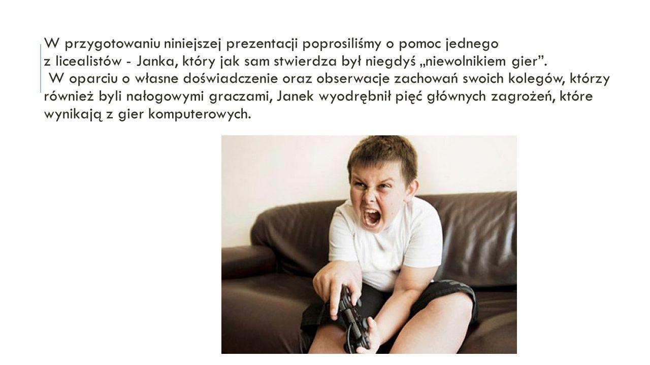 """PODSUMOWANIE Na podstawie znanych polskich i zagranicznych badań cząstkowych można na zakończenie wyprowadzić kilka ważnych wniosków: istnieje związek między czasem spędzanym """"na komputerze a stopniem integracji z rodziną – gry osłabiają więzi rodzinne; agresywne gry sprzyjają zachowaniom agresywnym – im dłuższy czas spędzany w """"sieci gier tym częstsze i brutalniejsze reakcje wobec innych osób, zwłaszcza, gdy ingerują one w czas spędzany w grach; gry sprzyjają integracji subkulturowej – gracze sieciowi; gry zmniejszają zainteresowanie nauką, sportem, dbałością o zdrowie; obniżają zdolności empatyczne, koncyliacyjne oraz odczulają;"""