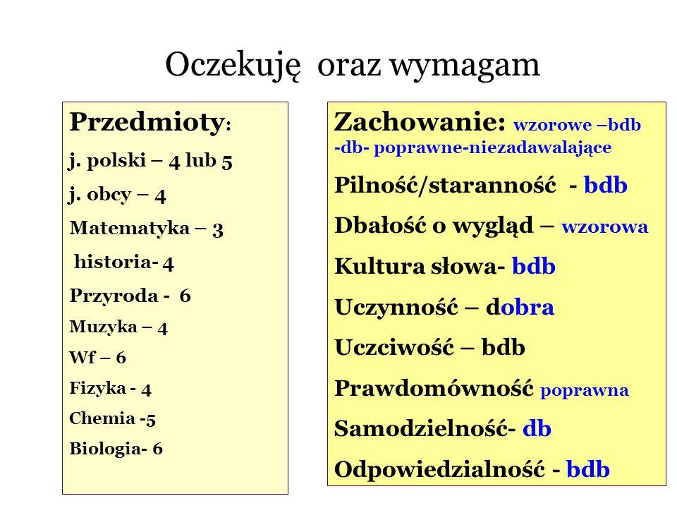 Przedmioty : j. polski – 4 lub 5 j. obcy – 4 Matematyka – 3 historia- 4 Przyroda - 6 Muzyka – 4 Wf – 6 Fizyka - 4 Chemia -5 Biologia- 6 Zachowanie: wz