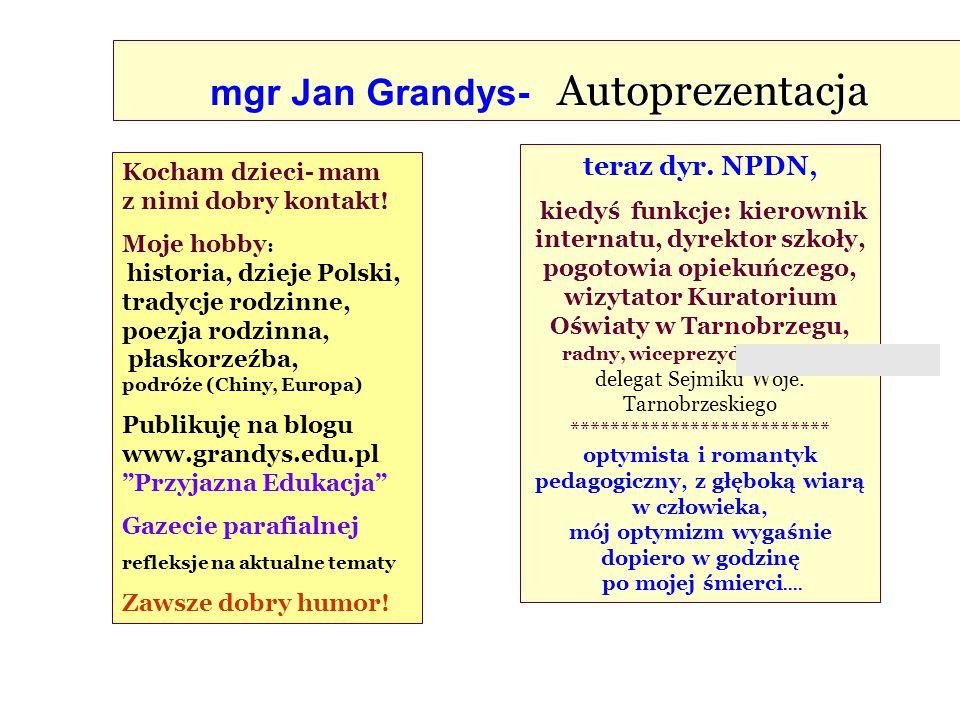 Autoprezentacja mgr Jan Grandys- Autoprezentacja teraz dyr. NPDN, kiedyś funkcje: kierownik internatu, dyrektor szkoły, pogotowia opiekuńczego, wizyta