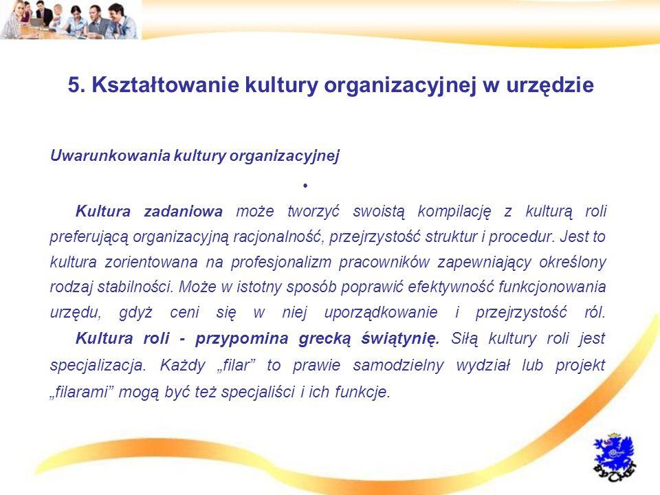 5. Kształtowanie kultury organizacyjnej w urzędzie Uwarunkowania kultury organizacyjnej Kultura zadaniowa może tworzyć swoistą kompilację z kulturą ro