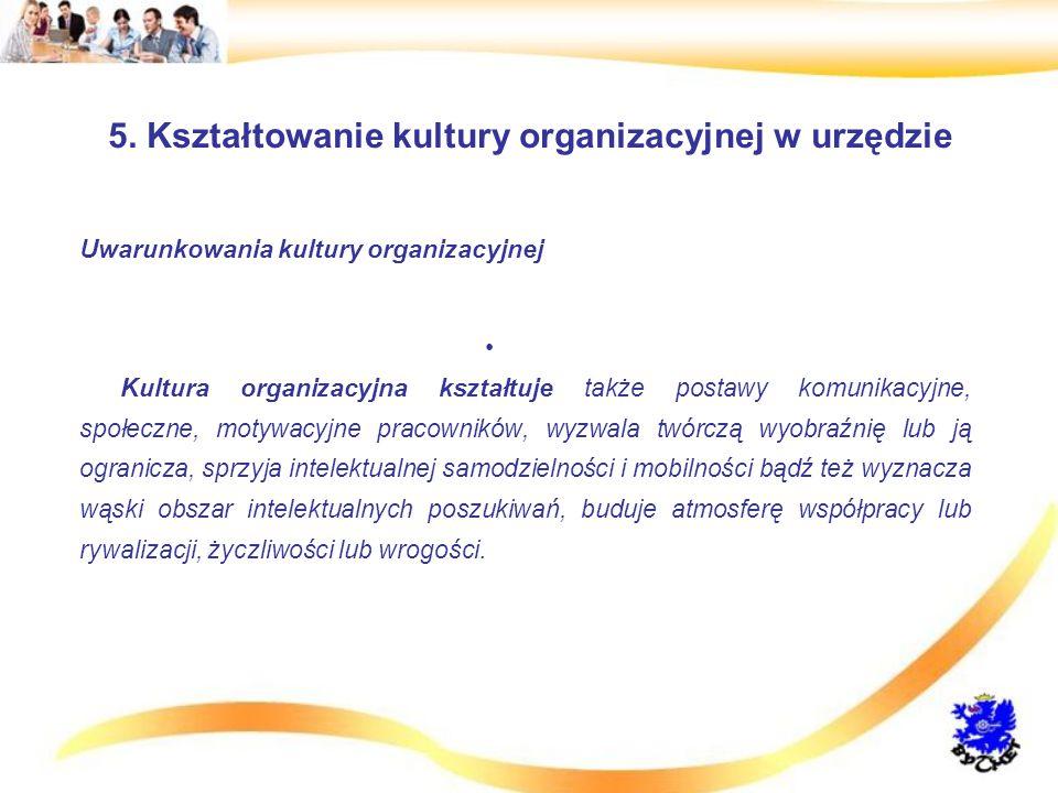 5. Kształtowanie kultury organizacyjnej w urzędzie Uwarunkowania kultury organizacyjnej Kultura organizacyjna kształtuje także postawy komunikacyjne,
