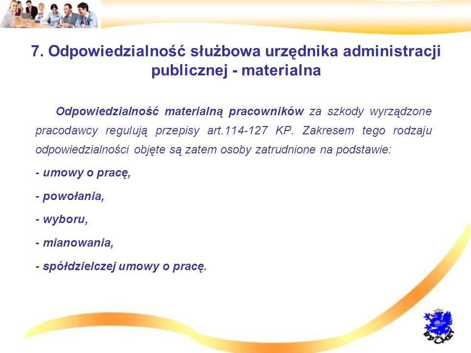Odpowiedzialność materialną pracowników za szkody wyrządzone pracodawcy regulują przepisy art.114-127 KP.