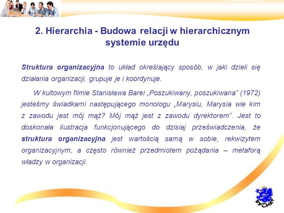 2. Hierarchia - Budowa relacji w hierarchicznym systemie urzędu Struktura organizacyjna to układ określający sposób, w jaki dzieli się działania organ