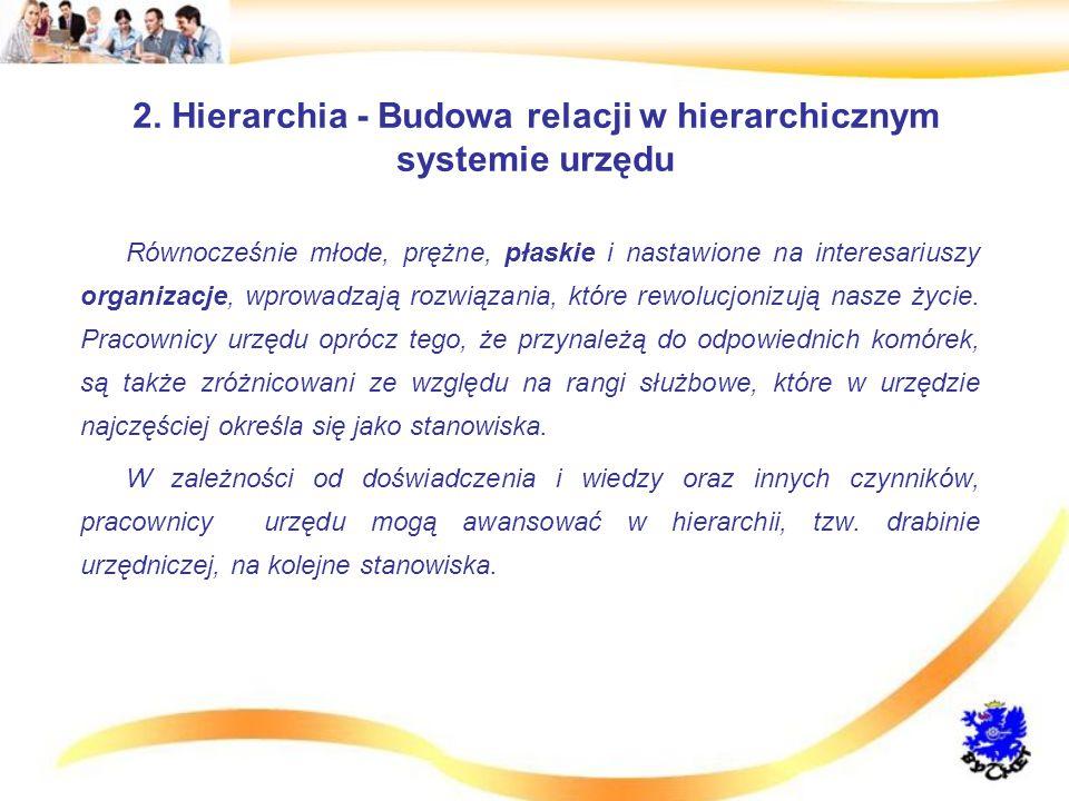 2. Hierarchia - Budowa relacji w hierarchicznym systemie urzędu Równocześnie młode, prężne, płaskie i nastawione na interesariuszy organizacje, wprowa