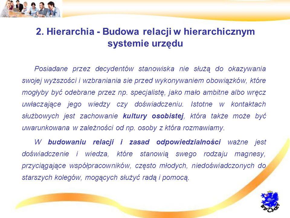 2. Hierarchia - Budowa relacji w hierarchicznym systemie urzędu Posiadane przez decydentów stanowiska nie służą do okazywania swojej wyższości i wzbra
