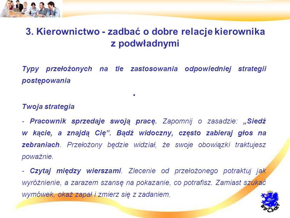 3. Kierownictwo - zadbać o dobre relacje kierownika z podwładnymi Typy przełożonych na tle zastosowania odpowiedniej strategii postępowania Twoja stra