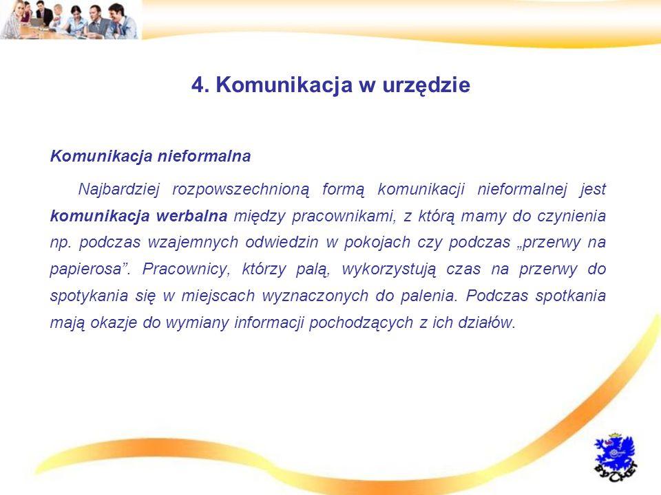 4. Komunikacja w urzędzie Komunikacja nieformalna Najbardziej rozpowszechnioną formą komunikacji nieformalnej jest komunikacja werbalna między pracown