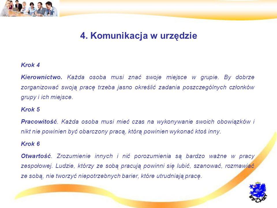 4.Komunikacja w urzędzie Krok 4 Kierownictwo. Każda osoba musi znać swoje miejsce w grupie.