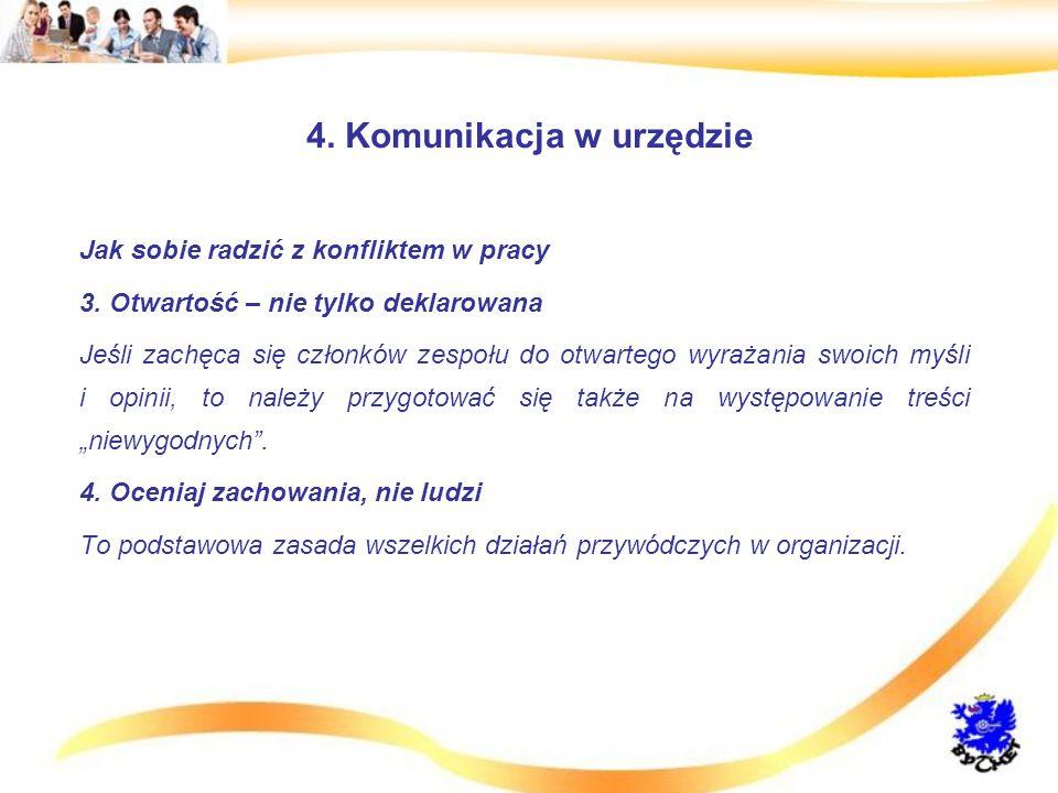 4.Komunikacja w urzędzie Jak sobie radzić z konfliktem w pracy 3.