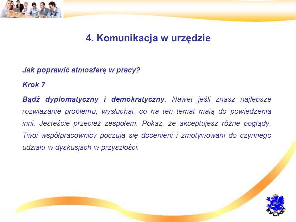 4.Komunikacja w urzędzie Jak poprawić atmosferę w pracy.