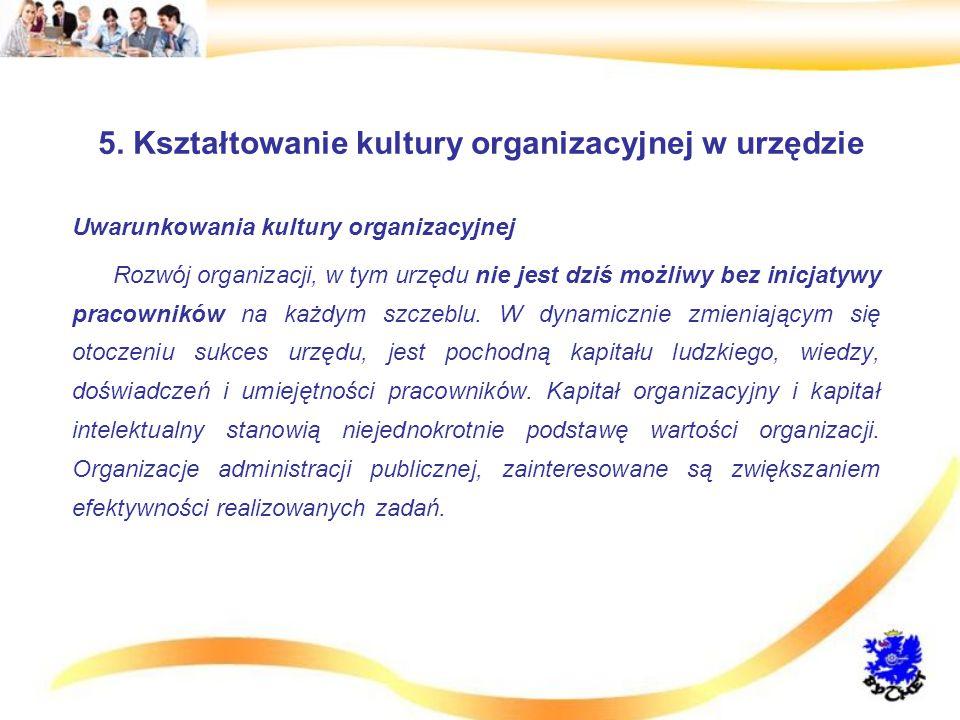 5. Kształtowanie kultury organizacyjnej w urzędzie Uwarunkowania kultury organizacyjnej Rozwój organizacji, w tym urzędu nie jest dziś możliwy bez ini