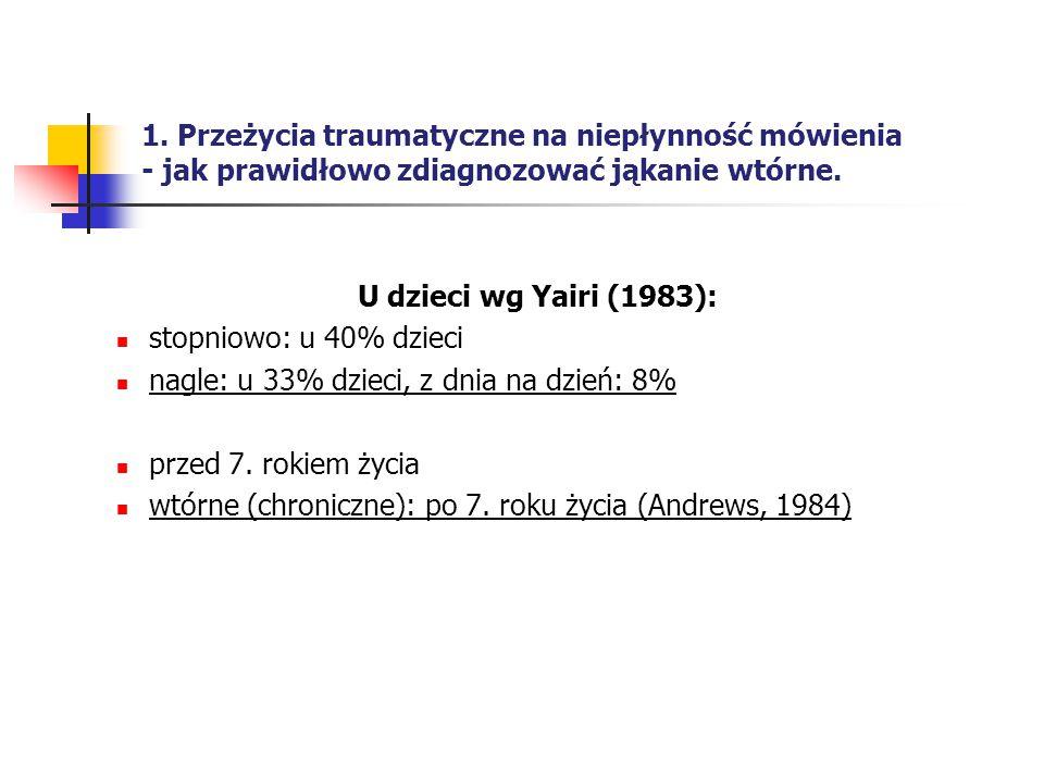 1. Przeżycia traumatyczne na niepłynność mówienia - jak prawidłowo zdiagnozować jąkanie wtórne. U dzieci wg Yairi (1983): stopniowo: u 40% dzieci nagl